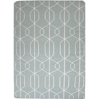 Flat-Weave Geometric Turquoise Blue Wool Rug (8' x 10')