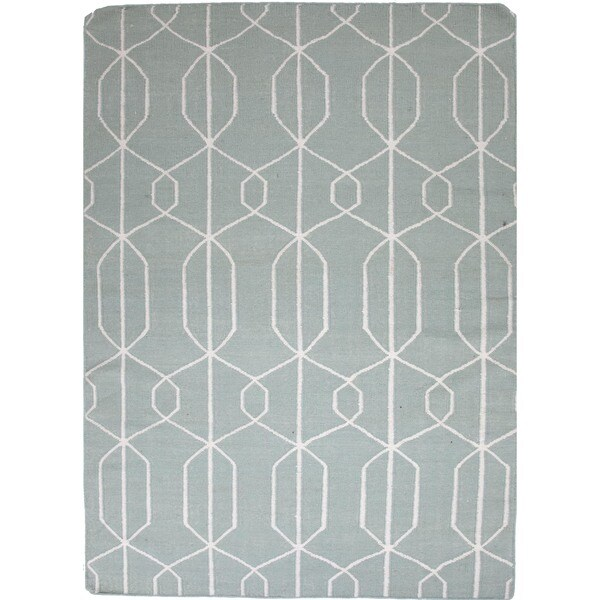 Light Turquoise Flat Weave Geometric Blue Wool Rug (5' x 8')