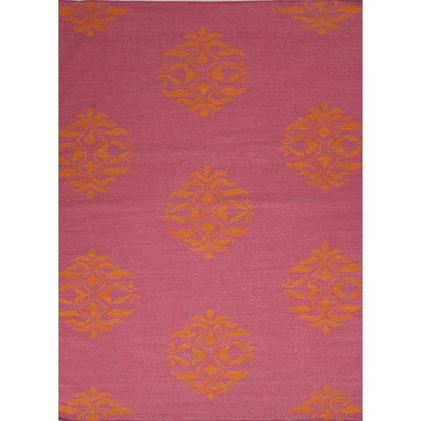 Flat Weave Moroccan Pink Wool Handmade Runner (2'6 x 8')