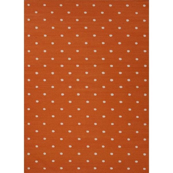Flat Weave Geometric Red/ Orange Wool Rug (9' x 12')