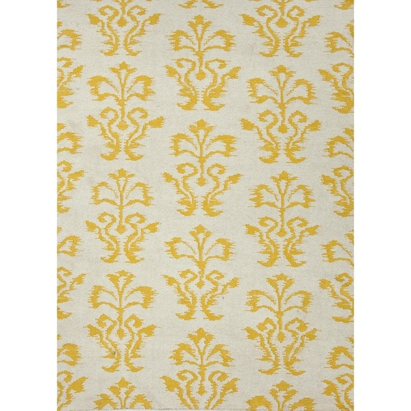 Flat Weave Gold/ Yellow Wool Runner (2'6 x 8')