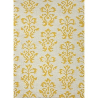 Flat Weave Floral Gold/ Yellow Wool Rug (8' x 10')