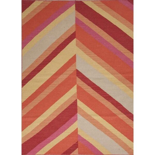Striped Flat-weave Wool Red/ Orange Area Rug (5' x 8')
