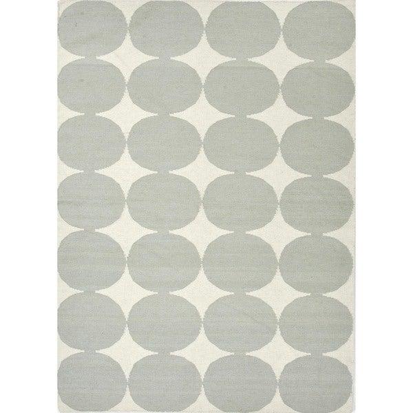 Flat Weave Geometric Blue Wool Handmade Runner (2'6 x 8')