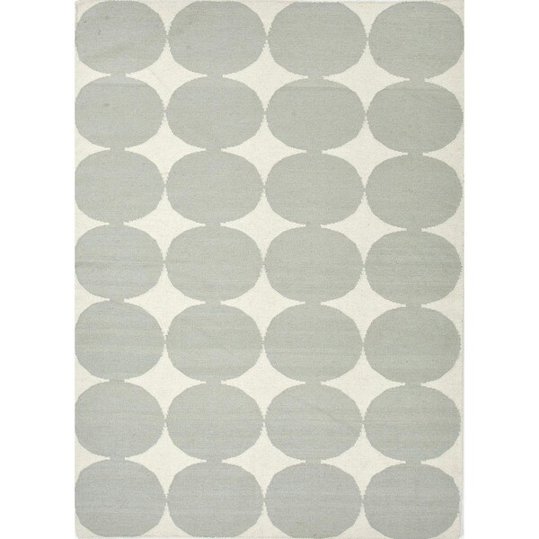 Flat-Weave Geometric Blue Wool Area Rug (8' x 10')