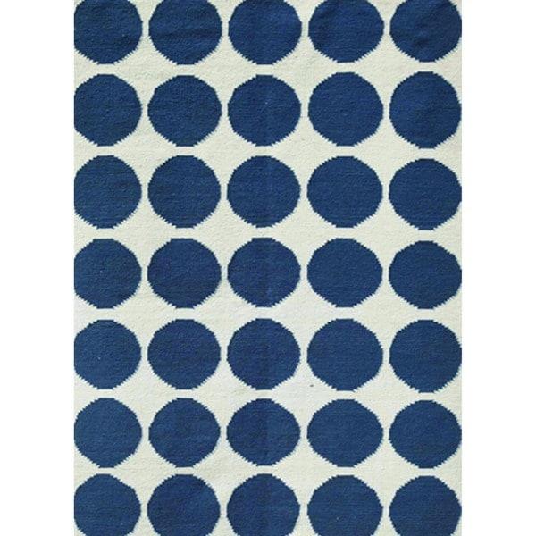 Modern Flat-Weave Geometric Blue Wool Rug (9' x 12')