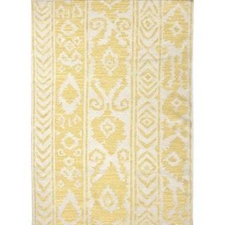 Flat Weave Tribal Gold/ Yellow Wool Area Rug (5' x 8')