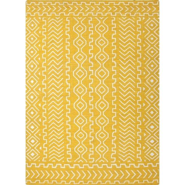 Flat Weave Tribal Gold/ Yellow Wool Rug (9' x 12')