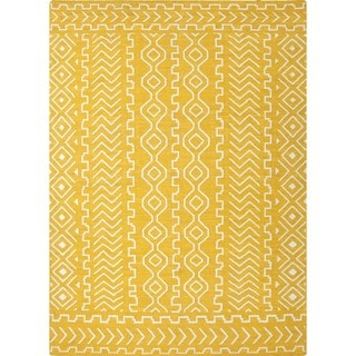 Flat Weave Tribal Gold/ Yellow Wool Rug (2' x 3')