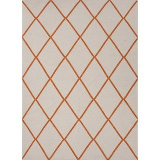 Rectangular Flat Weave Geometric Red/ Orange Wool Rug (9' x 12')