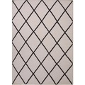 "Flat-Weave Geometric Gray/Black Wool Runner (2'6"" x 8')"