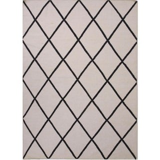 Flat Weave Geometric Gray/ Black Wool Rug (9' x 12')