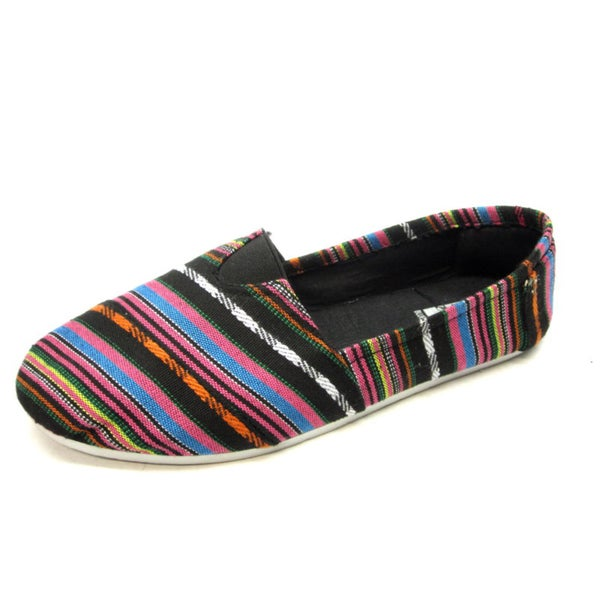 Blue Women's 'Timmy' Patterned Black Flats