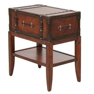 Gracie Leather Accent Chairside Table