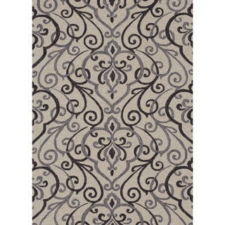 Hand-hooked Charlotte Ivory/ Grey Rug (5'0 x 7'6)
