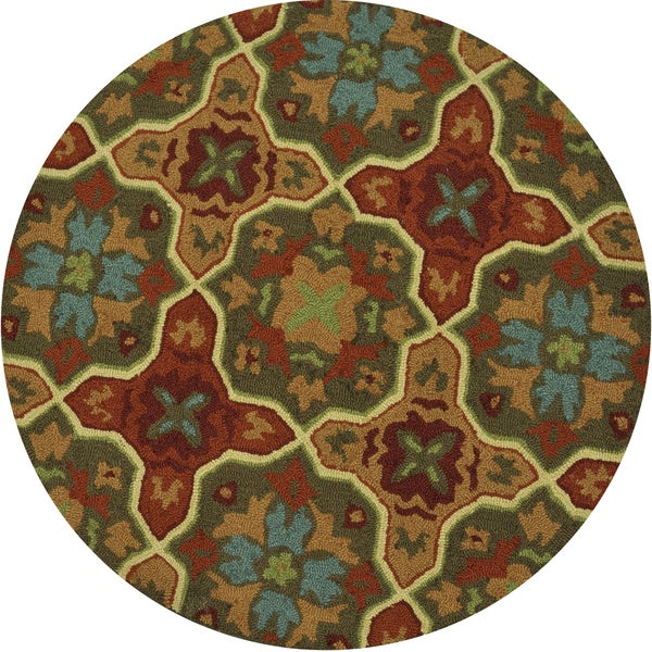 Hand-hooked Charlotte Spice Rug (3'0 Round)