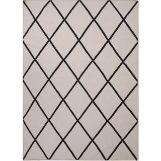Handmade Flat-Weave Geometric Gray Wool Area Rug (5' x 8')