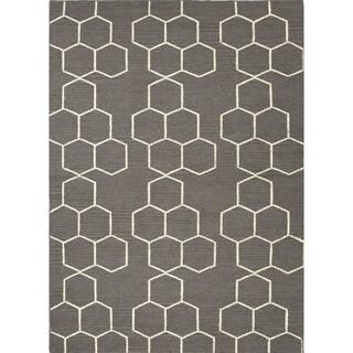 Handmade Flat Weave Geometric Gray Wool Rug (9' x 12')