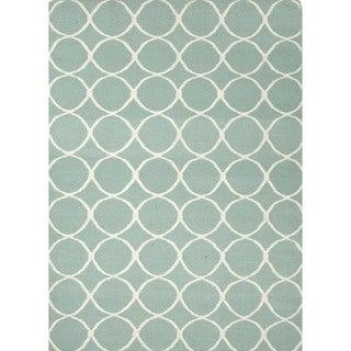 Handmade Flat Weave Geometric Blue Wool Rug (8' x 10')