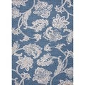 Hand-tufted Transitional Floral Blue Wool/ Silk Midtown Rug (3'6 x 5'6)