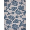 Hand-tufted Transitional Floral Blue Wool/ Silk Rug (8' x 11')