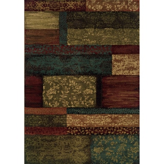 Indoor Brown/Teal Polypropylene Area Rug