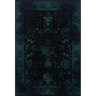 Indoor Black/ Teal Area Rug
