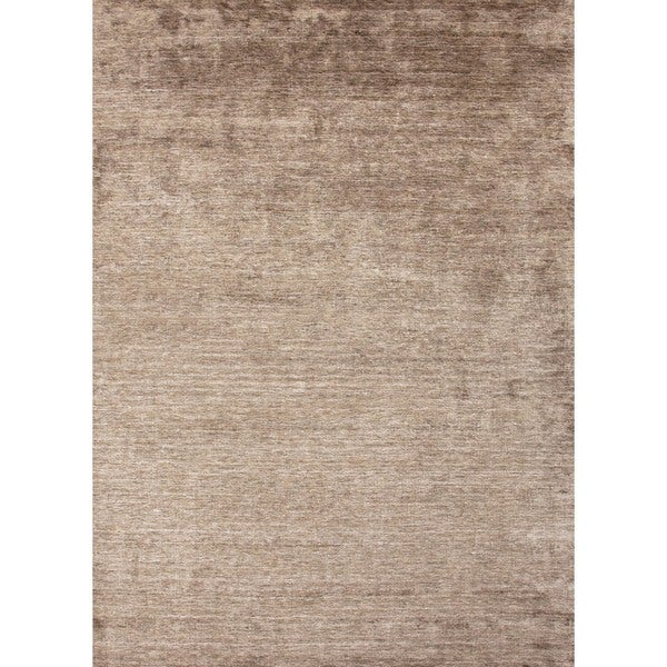 Hand-Loomed Solid Beige Viscose Rayon from Bamboo Accent Rug (2' x 3')