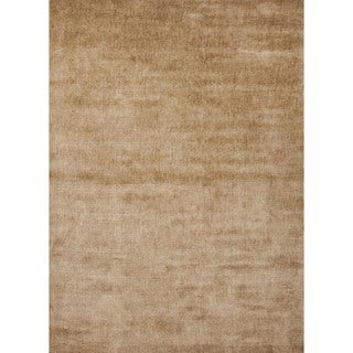 Hand-loomed Solid Beige Viscose Rayon from Bamboo Rug (9' x 13')