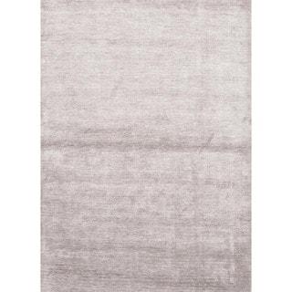 Hand-loomed Solid Gray Bamboo Silk Rug (3'6 x 5'6)