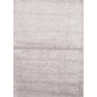 Hand-loomed Solid Gray Bamboo Silk Rug (9' x 13')