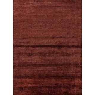Hand-loomed Solid Red/ Orange Bamboo Silk Rug (9' x 13')