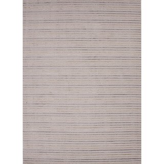 Hand-Loomed Transitional Multicolor Striped Wool/Silk Rug (8' x 10')