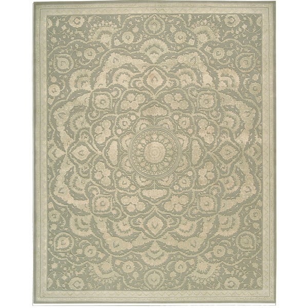 9x12 New Nourison Nourmak Hand Knotted Wool Reversible: Nourison Hand-tufted Floral Regal Light Green Wool Rug