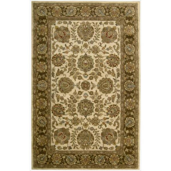 Nourison Hand Tufted Jaipur Ivory Brown Wool Rug