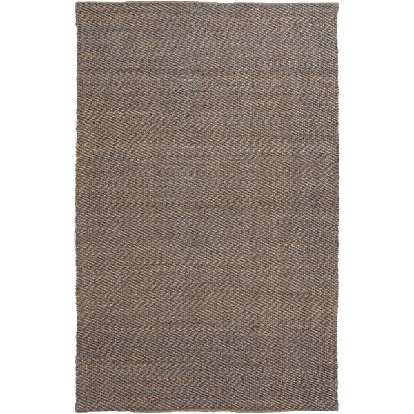 Hand-woven Blue Natural Jute/ Rayon Rug (8' x 10')