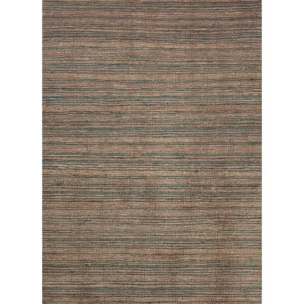 Hand-Woven Flat-Pile Natural Stripe Hemp/Jute Rug (8' x 10')