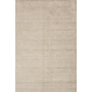 Hand-loomed Solid Beige Wool/ Silk Rug (9' x 13')
