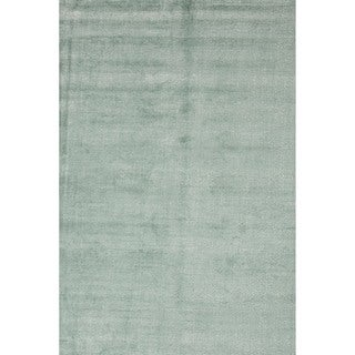 Hand-loomed Solid Blue Wool/ Silk Rug (9' x 13')