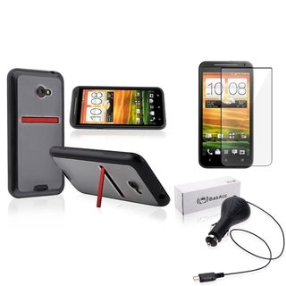 BasAcc TPU Case/ Protector/ Retractable Car Charger for HTC EVO 4G LTE