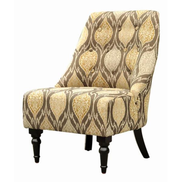 Ikat Brown Chenille Fabric Club Chair