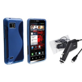 BasAcc Blue TPU Case/ Car Charger for Motorola Droid Bionic XT875