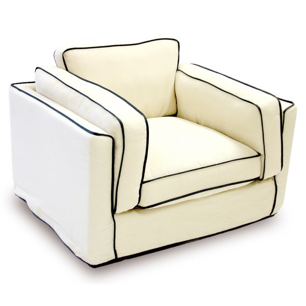 Modern Cream/ Black Slipcover Arm Chair