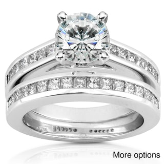 14k White Gold Moissanite and 1ct TDW Diamond Bridal Set (H-I, I1-I2)
