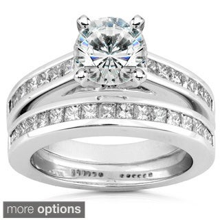 Annello 14k White Gold Moissanite and 1ct TDW Diamond Bridal Set (H-I, I1-I2)