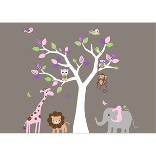 Nursery Wall Art Girl's Safari Tree Wall Decal Set with Birds Owls and Jungle Animals