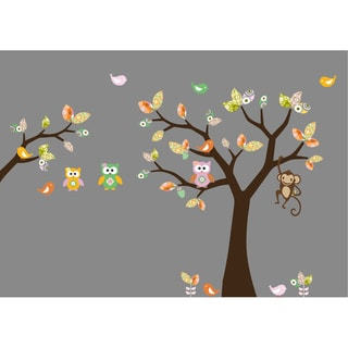 Nursery Wall Art Girl's Pattern Leaf Tree Decal Set with Birds, Owls and Flowers
