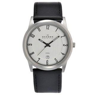 Skagen Men's Stainless Steel Leather Strap Watch