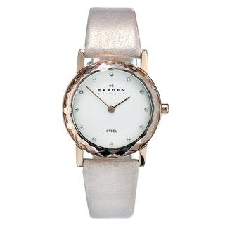 Skagen Women's Rose Gold Leather Quartz Watch