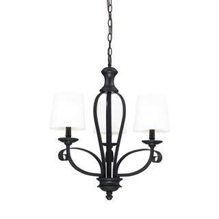 Charleston 25-inch Matte Black 3-light Chandelier